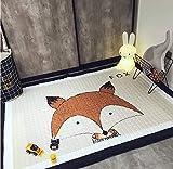 Marbeine Tapis de Jeu Epais Bébé Grand Dessinée Tapis de Sol en Coton Doux Lavables Antidérapant pour Décoration de Chambre Enfant 1.45 * 1.95M (Renard)