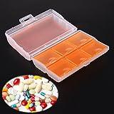 Rrimin Travel Tablet Pill Medicine Dual Layer 6 Compartments Dispenser Box(Orange)