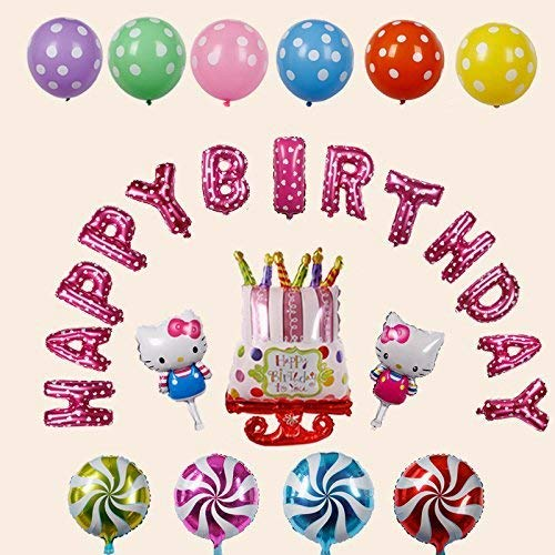 Ouken Hello Kitty mehrfarbige Buchstaben Happy Birthday Ballons Aluminium Birthday Ballon Party Dekorationen