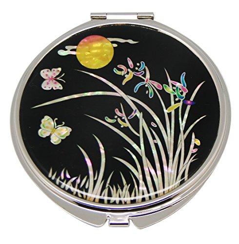 Mère de perle motif orchidée Double miroir de poche compact Sac à main Loupe de maquillage beauté