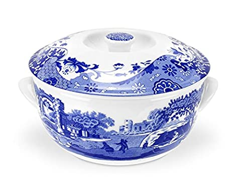 Blue Italian 2 Litre Porcelain Round Covered Deep Dish,