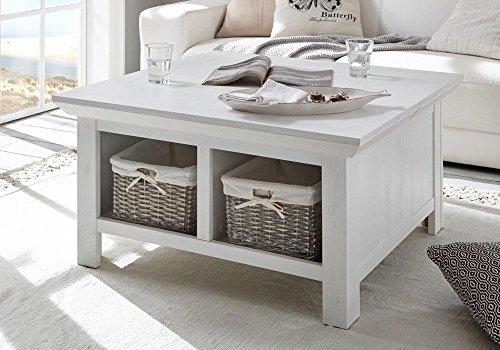 lifestyle4living Couchtisch in Pinie Weiß Dekor   Tisch hat 2 offene Fächer und EIN Staufach   Sofatisch ist 93 cm breit