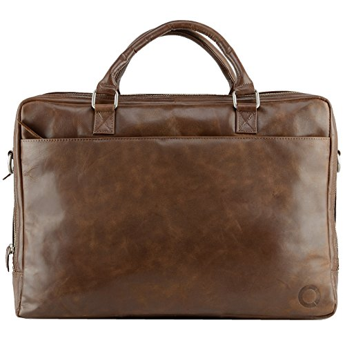 Echt Leder Messenger Bag Aktentasche Schultertasche Umhängetasche DIN-A4 Laptoptasche 15 Henkeltasche braun (Aktentasche Business Messenger)