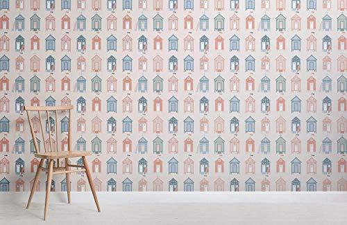 maßgeschneiderte Beach Hut Pattern Seaside Wallpaper Wandbild 250×175cm