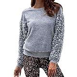 JERFER Frauen Volltonfarbe Rundhals Fringe Long Sleeve Sweater