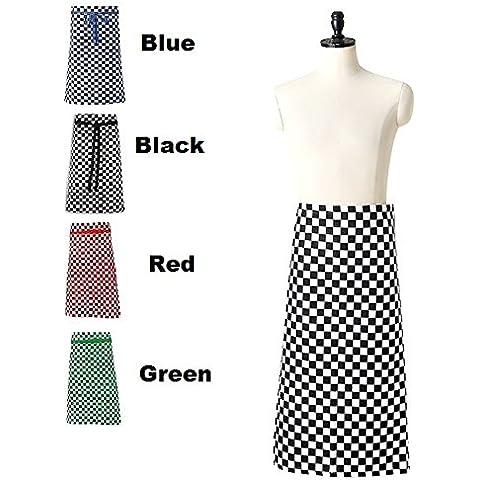 Chef cuadros Comprobar Largo Cintura Delantal Verde, Rojo, Azul, Negro