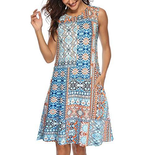 friendGG Frauen Sommer Sleeveless Floral Bedruckte Taschen Sommerkleid LäSsige Swing Damen Print Pocket Kleid O Ausschnitt RüSchen Sommerkleider Mini Strandkleider Casual Lose T-Shirt (Gelb,XXL) -