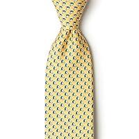 Yellow Silk Tie   Micro Sailboats Necktie