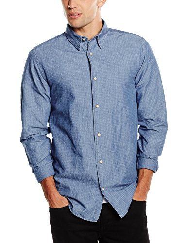 JACK & JONES PREMIUM Jjprwalton Shirt L/S Plain, Camicia Uomo Blau (Medium Blue Denim Fit:SLIM FIT)