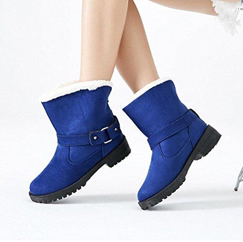 Bottes Courtes Pour Femmes Talon Plat En Daim Coton Épaisse Pl ¨ ¹ Et Chaussures Décontractées Chaudes, Brown-37 Bleu-35
