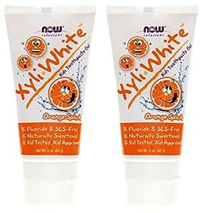 XyliWhite Orange Splash Kids Toothpaste Now Foods 3 oz Gel Pack of 2