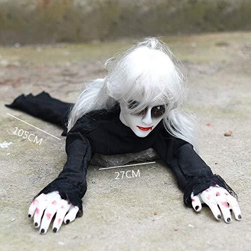 Puppe Kostüm Dämon - WSJDE Halloween Elektro Krabbeltiere Knifflige Requisiten Böse leuchtende Puppen Spukhaus Dämon Dekoration Horror Gruselige Angst Baby Ghostschwarz