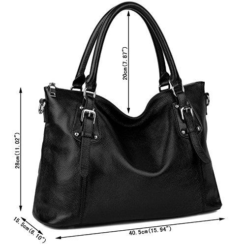 Imagen de yaluxe mujer estilo clasico cuero genuino suave  pequeña saco de mano grande bolsa de hombro negro alternativa
