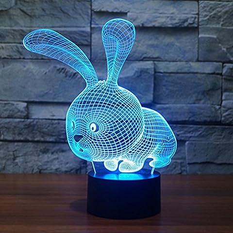 Hase 3D Optische Illusions-Lampen, FZAI 7 Farben Berührungsschalter Schreibtisch LED Nacht Lichter mit 150cm USB-Kabel zum Kinder Weihnachtsgeschenk Haus Dekoration