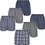 Mctam Herren Boxershorts Men 6er Pack Unterwäsche Unterhosen Männer American Klassisch Kariert 100% Baumwolle, L, 6X Mix American 3
