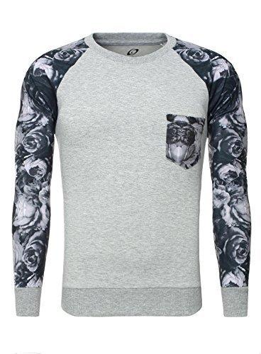 Carisma Pullover Sweatshirt Pulli mit Blumen Ärmeln Brusttasche grau M