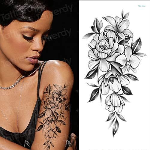 Tzxdbh tatuaggio temporaneo adesivo fiore nero rose peonia disegna tatuaggi disegni braccio tatoo sexy body art grande grande tatuaggio finto