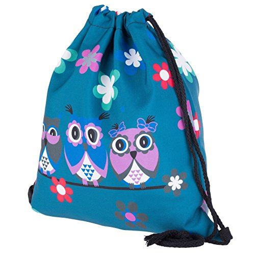 Kukubird Tre Gufi Su Un Ramo Primavera/estate Di Design Semplice Stringa Palestra Scuola Zaini Three Owls Blue