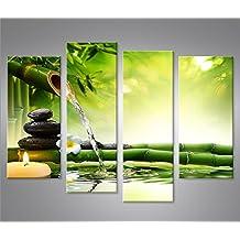 Cuadro en Lienzo Wasser Zen V3 4er Impresión sobre lienzo - Formato Grande 4 Partes - Impresion en calidad fotografica
