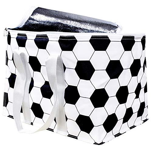 SELAGO Komfort Kühltasche/Tragetasche für Bierkasten im Fussball Design Pickniktasche/Isolierte Thermobox/Strandtasche/Kühlbehälter