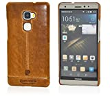 Huawei Mate S Case, Pierre Cardin Premium Luxurious Slim Italian Genuine Cow Leather Hard Back Cover Back Case for Huawei Mate S (Brown)