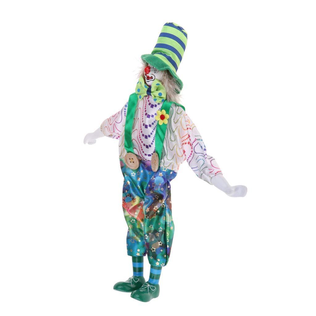 FLAMEER Lustige Clown Mann Porzellan Puppe im Kleidung Spielzeug Halloween Dekoration Sammlerstück - # 1, 38cm