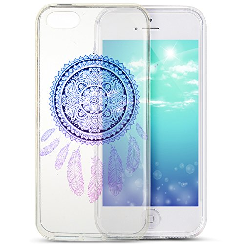 Coque iPhone 6S Plus, Coque iPhone 6 Plus, Étui iPhone 6S Plus, Étui iPhone 6 Plus, iPhone 6S Plus/iPhone 6 Plus Case, ikasus® iPhone 6S Plus/iPhone 6 Plus Clair Cristal Transparent TPU avec Coloré pe Plume Dreamcatcher bleu