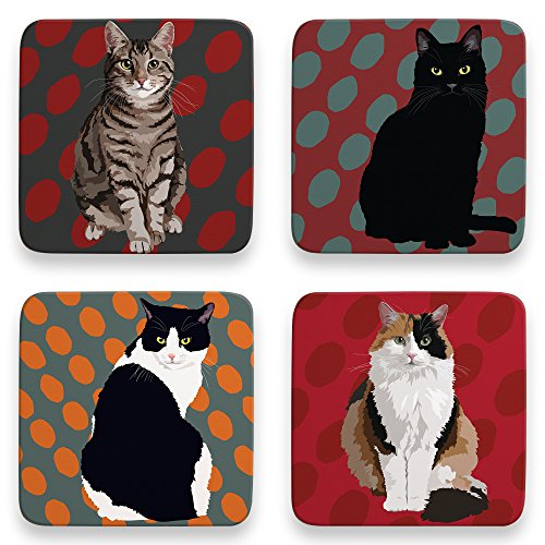 Leslie Gerry Cat Lot de 4 dessous-de-verre