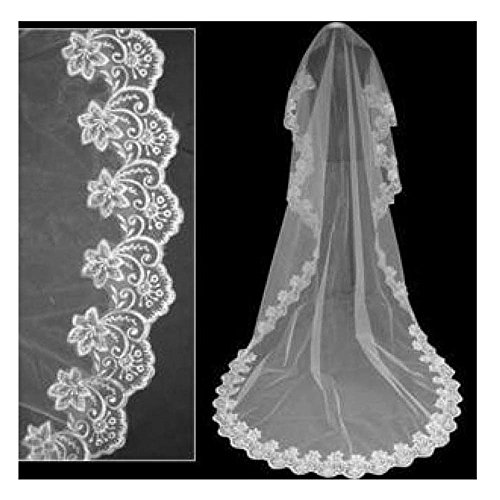 NO:1 3M lang 1 Spitze Kante Vintage Bridal Wedding Veil Ebenenstil A