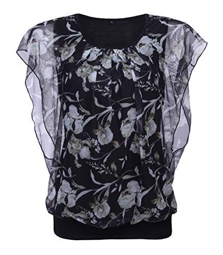 TrendiMax Damen Blumen Munster Kurzarm Bluse Rundhals Falten T-Shirt Casual Stretch Tunika Tops