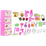 Segolike Storage Box Of Jewelry Necklace Crown Comb Trolley Camera Phone For 1/6 Barbies Doll House Dress Up(31pieces)