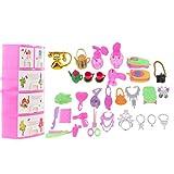 MagiDeal 31 Pezzi Set Di Casa Bambola Miniatura Armadio Immagazzinaggio Trucco Vestiti Accessori Plastica Multicolore