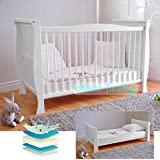 FREE UK Delivery ✔ White Solid Wood Baby Cot Bed & Deluxe Foam Mattress Converts into a Junior Bed ✔ 3 Position ✔