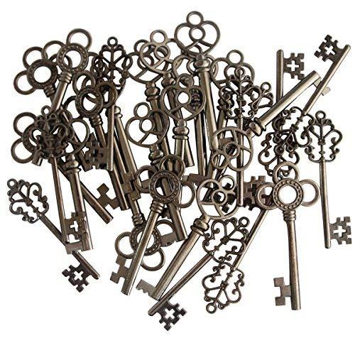 (Set von 30) gemischt Vintage Old Look Skelett Schlüssel Fancy Herz Schleife Halskette Anhänger schwarz (Schlüssel Anhänger Herz)