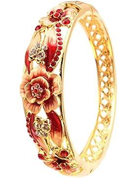 City Ouna® Swarovski Elemente Damen 18K Gold vergoldet Blumenmädchen Kette Charm Armbänder Armreifen mit Zirkonia...