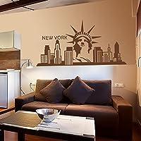 """Nueva York wallkraft adhesivo decorativo etiqueta de la pared Estatua de la libertad de la decoración del dormitorio, vinilo, marrón, 26""""h x52""""w"""