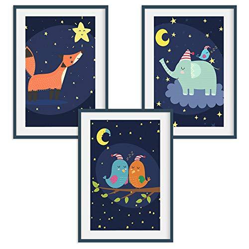 HappyWords® 3er Bilder Set - DIN A4 ohne Bilderrahmen | Bilder für Kinderzimmer & Bilder Babyzimmer | Junge Mädchen Baby | Kinder-Poster | Tiere Kinderbilder Kinderzimmer | 3er Set Fuchs Vögel Elefant