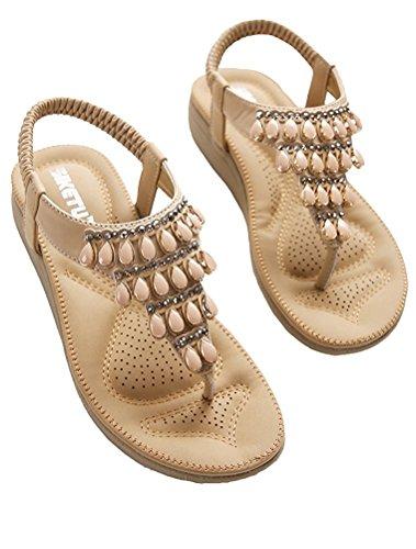 Minetom Mujer Chica Verano Dulce Bohemia Plana Rhinestone Clip Toe T-strap Sandalias Planas Chanclas Zapatillas Blandas Zapatos De Playa Albaricoque