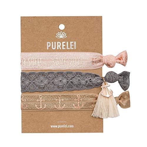 PURELEI Elastisches Frauen Armband (3 Stück) - Haargummi Nutzbar (Handmade) - Größen Verstellbar...