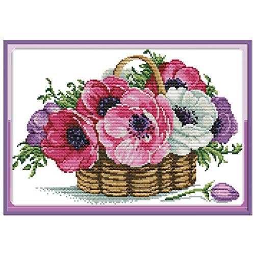 sunhoyu DIY Handarbeit Kreuzstich Stickerei Stickpackung Set,Kreuzstich Kreuzstich Stickerei,EIN Korb mit Blumen (37 * 27CM) - Ein Mit Korb Blumen