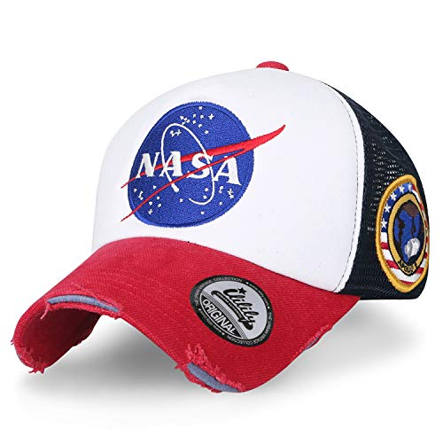 ililily NASA Meatball abgebildet im Logo Stickerei Baseball Cap Apollo 1 Flicken Trucker Cap Hut (XL, Red & White_XL) - Back Adjustable Trucker Hut