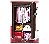 Evana 3 Feet Creative Coffee Brown Cabinet,Easy Installation Folding Wardrobe Cupboard Almirah Foldable Storage Rack Collapsible Cloths Organizer