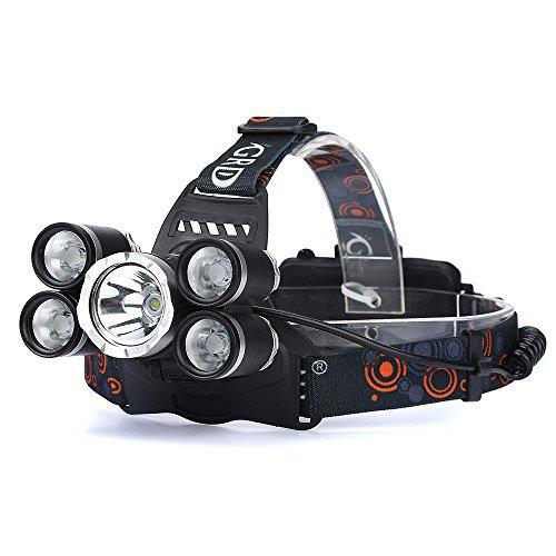 LED Stirnlampe ,35000LM 5x CREE XM-L T6 LED Scheinwerfer Scheinwerfer Taschenlampe Kopf Licht Lampe 18650 Zwei Kopf-notfall-licht