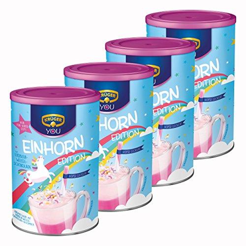 Krüger You Einhorn Edition, Typ Erdbeer-Weiße-Schokolade, Trinkschokolade, Getränkepulver, Schokogetränk, Kakao, 4 x 300g