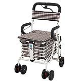 "shopping cart Leichte Aluminium-Legierung Faltbare bewegliche Trolley Aluminium Rollator Walker mit 6 ""Wheels, C"