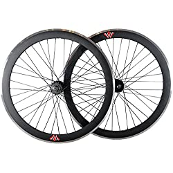 """Deep V 50mm, fijo Fixie Gear, vía, una sola velocidad bicicleta ruedas w. Flip Flop hubs, negro, 28"""" 700C 622"""