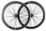 Tiefer V 50mm Fixie, Fixed Gear, Track, Single Speed Bike Räder W. Flip Flop Hubs, schwarz