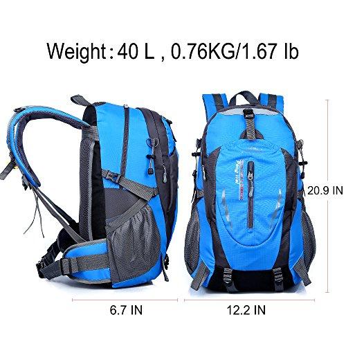Zaini da escursione, AOKE 40L Poliestere resistente impermeabile sacchetto backsack esterno portatile per l'escursione in campeggio Sport Alpinismo Picnic Army Green Blu
