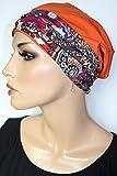 Beanie Mütze Baumwolle Terrakotta Orange mit Band Print ittle things in life Chemo Cap Hat Chemomütze Mütze bei Krebs Kopfbedeckung Turban
