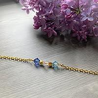 Bracelet trois perles de naissance, cristal Swarovski, chaîne en acier inoxydable, bracelet perles de naissance, Swarovski, cadeaux personnalisés, anniversaire, naissance, maman